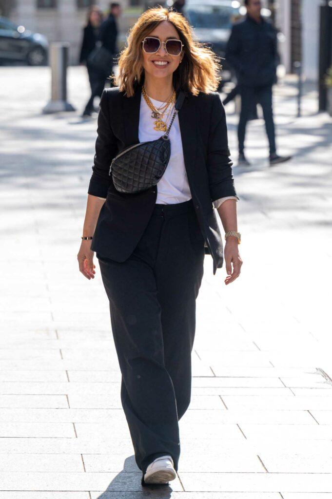 Myleene Klass in a Black Pantsuit
