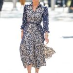 Myleene Klass in a Floral Dress Arrives at the Global Studios in London