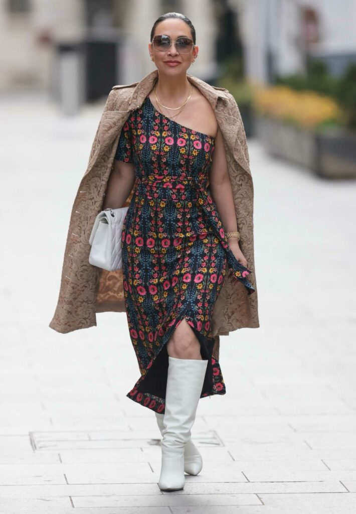 Myleene Klass in a Split Floral Dress