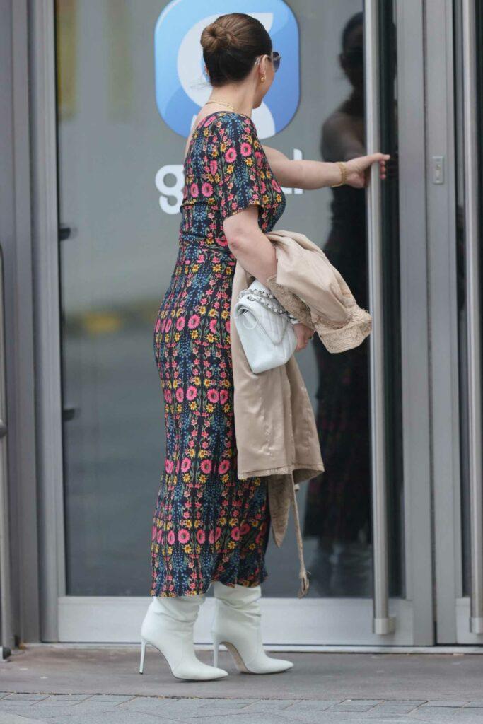 Myleene Klass in a Split Floral Dress