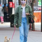 Naomi Watts in a Green Jacket Walks Her Dog with a Friend in New York