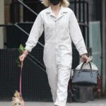 Naomi Watts in a White Jumpsuit Walks Her Dog in Tribeca, New York
