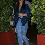 Rihanna in a Blue Gucci Blouse Leaves a Late-Night Dinner with Family at Giorgio Baldi in Santa Monica