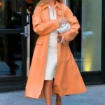 Rosie Huntington-Whiteley in a Coral-Hued Trench Coat Was Seen Out in New York