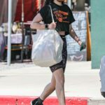 Rumer Willis in a Black Cropped T-Shirt Does Some Shopping at the Farmers Market in West Hollywood