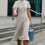 Vogue Williams in a Floral Dress Leaves the Steph's Packed Lunch Show in Leeds