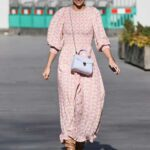 Vogue Williams in a Plaid Summer Dress Arrives at the Heart Radio in London