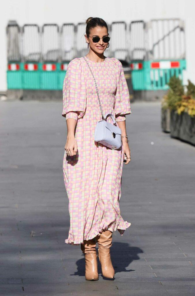 Vogue Williams in a Plaid Summer Dress