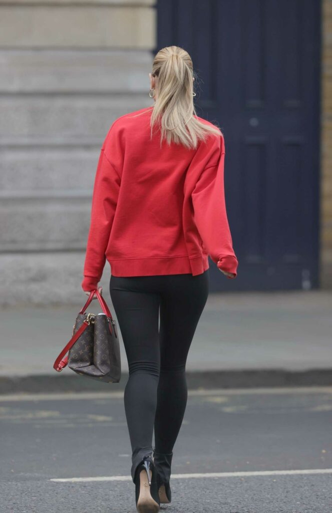 Vogue Williams in a Red Sweatshirt