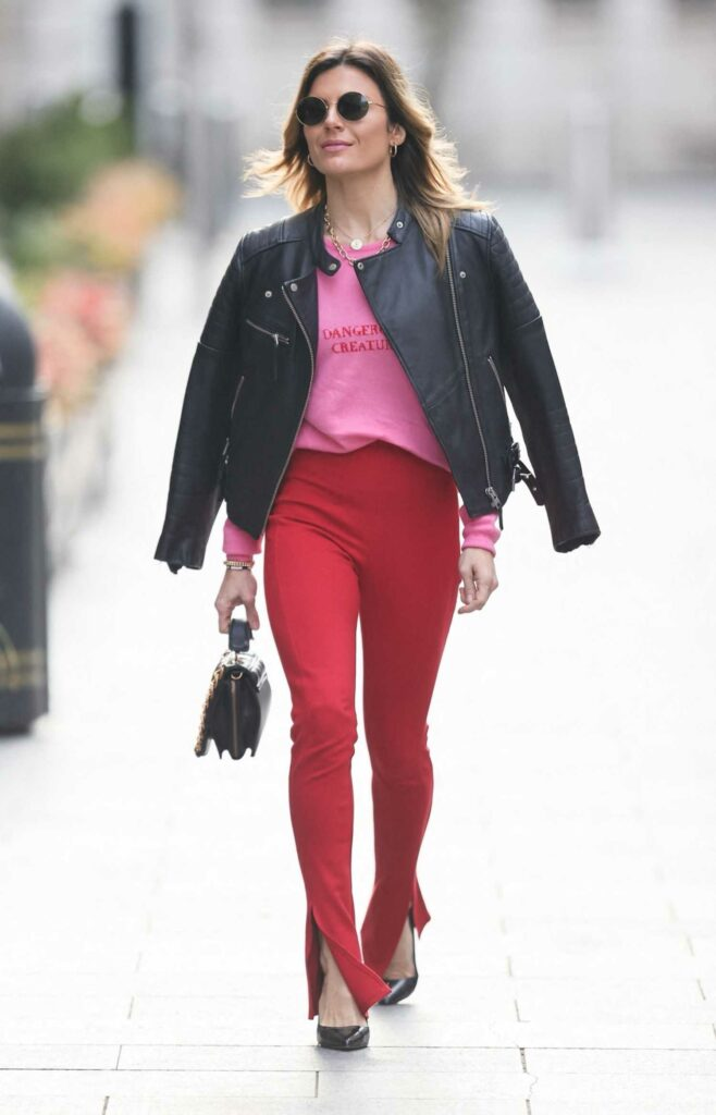 Zoe Hardman in a Red Skinny Fit Trousers