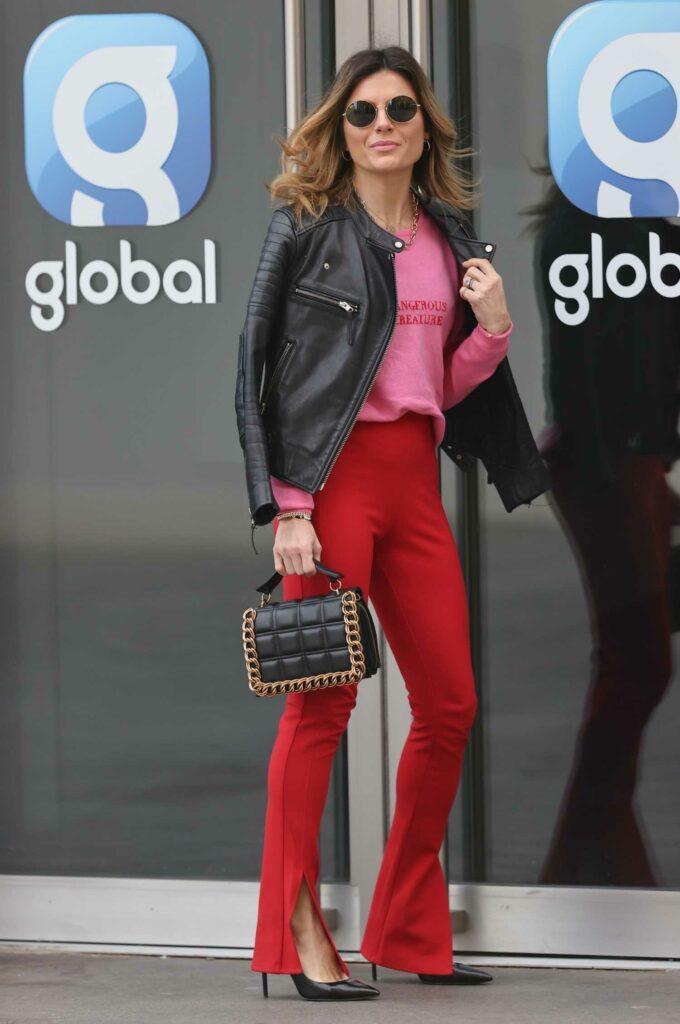 Zoe Hardman in a Red Skinny Fit Trousers