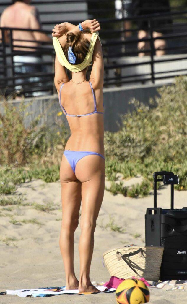 Alessandra Ambrosio in a Purple Bikini