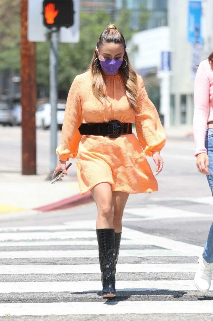 Ally Brooke in an Orange Dress Was Seen Out in West