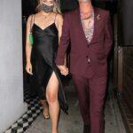 April Love Geary in a Black Dress Leaves Dinner with Robin Thicke at Craig's in West Hollywood