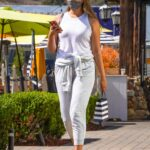 April Love Geary in a White Tank Top Was Seen Out in Malibu