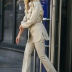 Ashley Roberts in a Beige Suit Leaves the Global Radio Studios in London