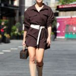Ashley Roberts in a Brown Mini Dress Arrives at the Heart Radio in London