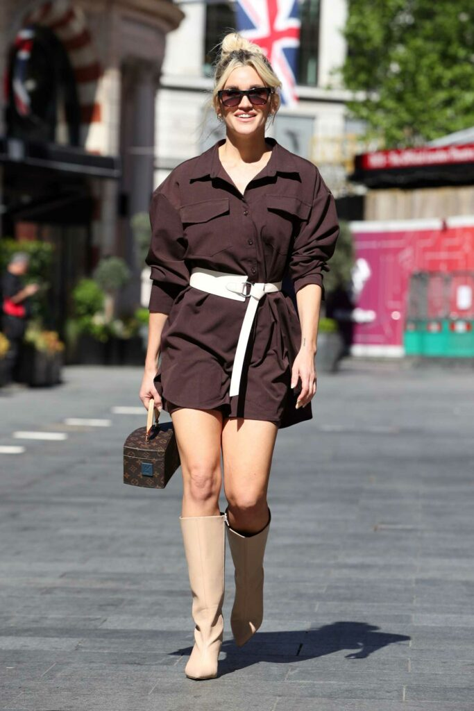 Ashley Roberts in a Brown Mini Dress