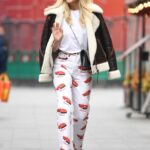 Ashley Roberts in a White Car Print Pants Leaves the Heart Radio in London