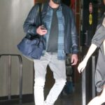 Ben Affleck in a Black Jacket Arrives at Airport in Miami