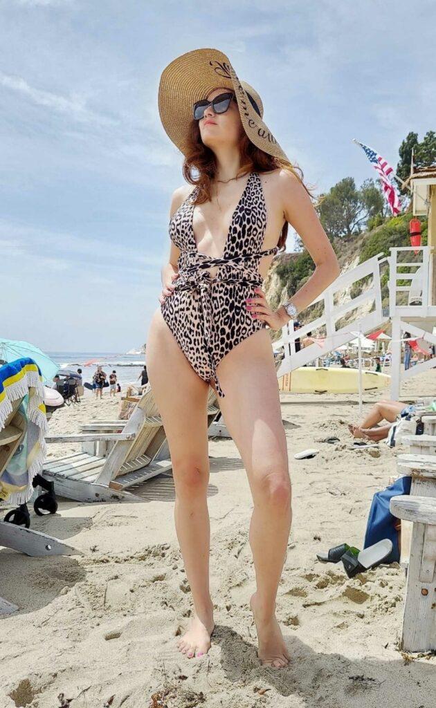 Blanca Blanco in an Animal Print Swimsuit