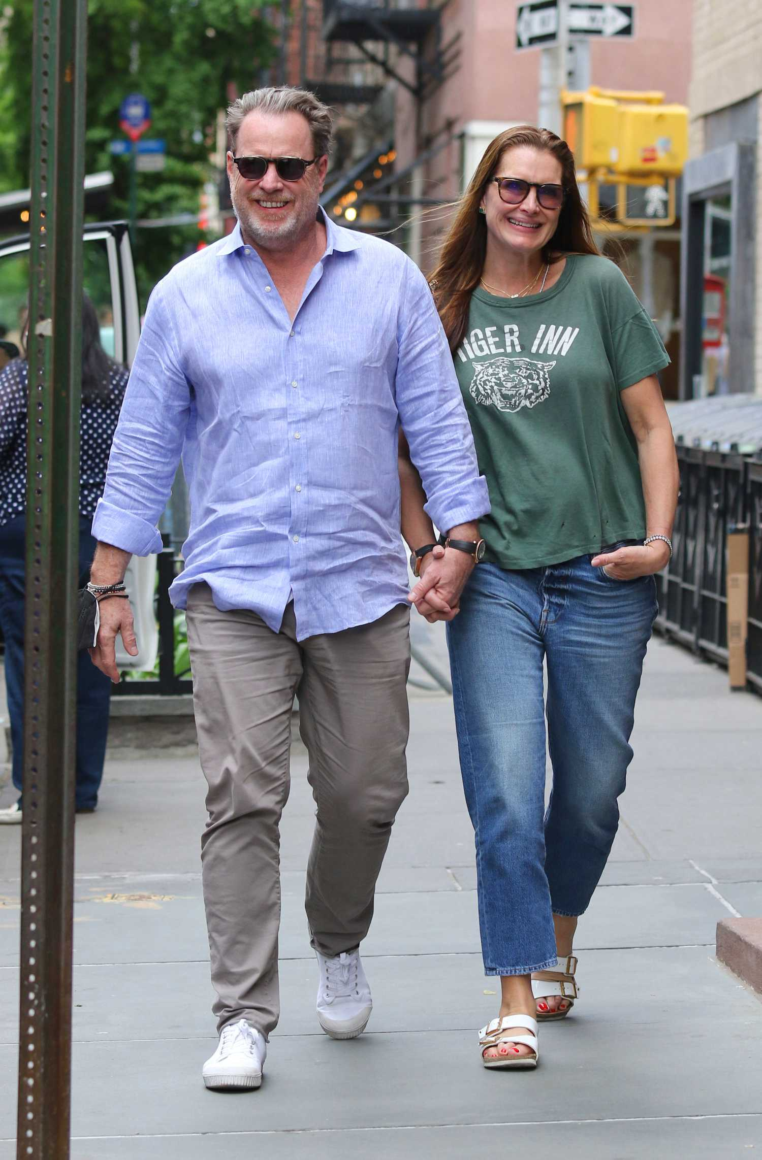 Brooke Shields in a Green Tee Was Seen Out with Her
