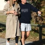 Candice Warner in a Beige Trench Coat Was Seen Out with David Warner in Maroubra
