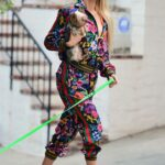 Christine Quinn in a Multi Colored Gucci Track Suit Walks Her Dog in Los Angeles