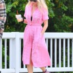Elsa Hosk in a Pink Dress Was Seen Out with Her Husband and Their Daughter in Los Angeles