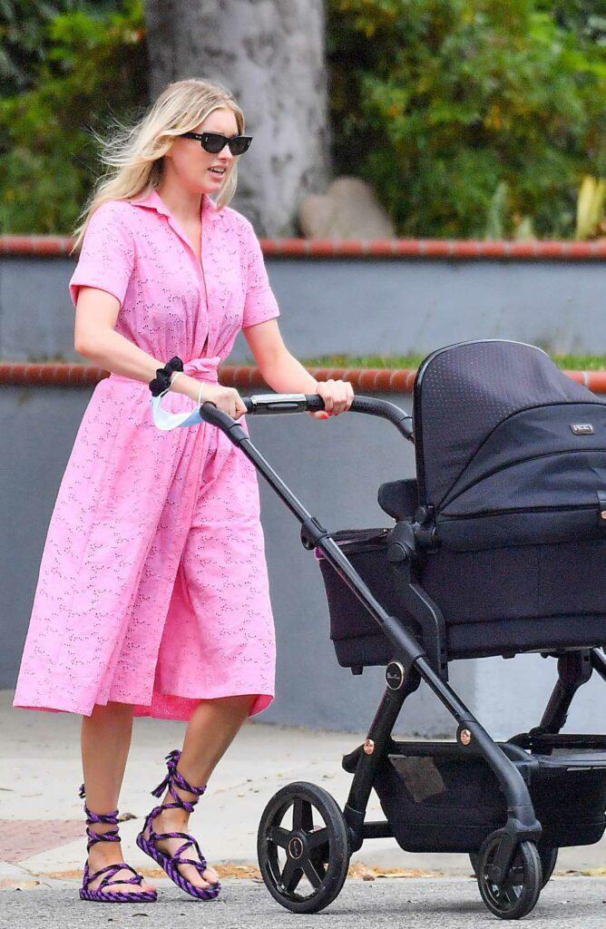 Elsa Hosk in a Pink Dress