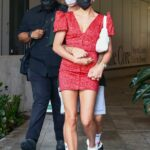 Hailey Bieber in a Red Mini Dress Was Seen Out with Justin Bieber in Downtown Miami