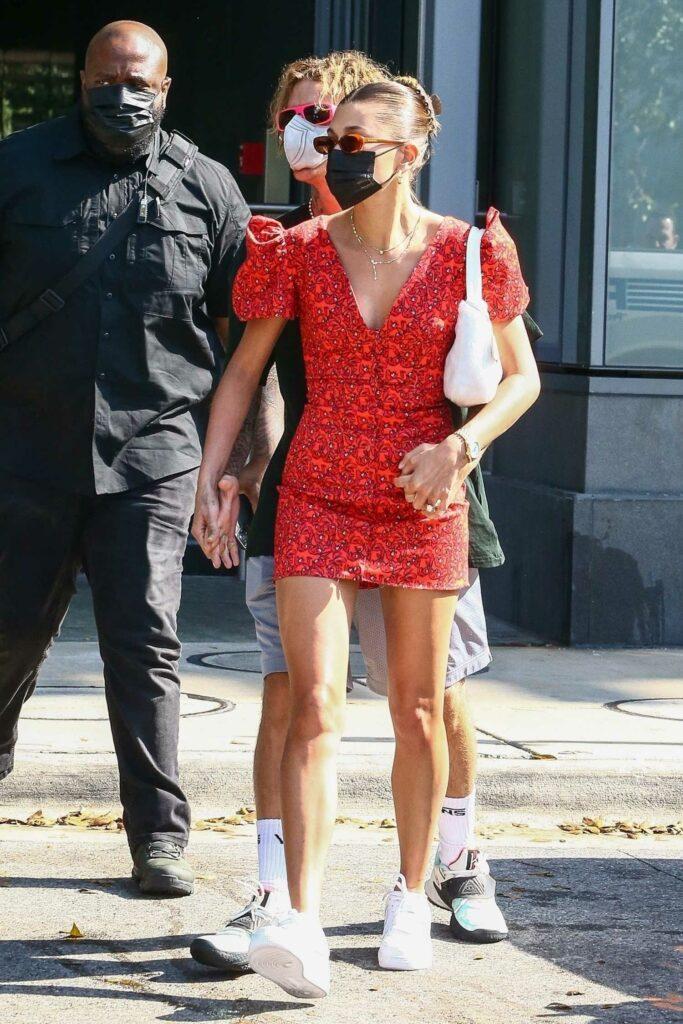 Hailey Bieber in a Red Mini Dress