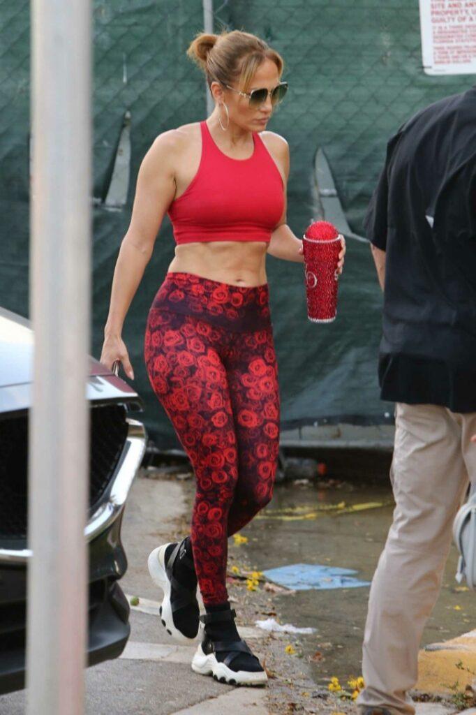 Jennifer Lopez in a Red Sports Bra
