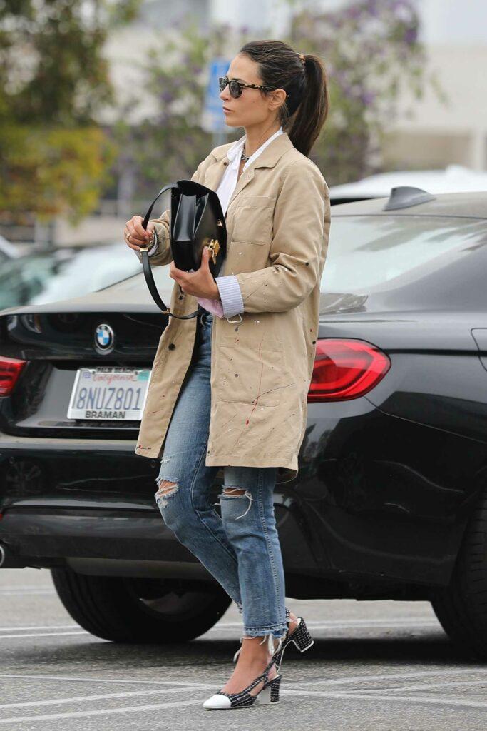 Jordana Brewster in a Beige Trench Coat