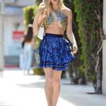Joy Corrigan in a Blue Mini Skirt Does a Street Style Photoshoot in Beverly Hills