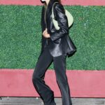 Kaia Gerber in a Black Leather Blazer Leaves a Late Dinner at Matsuhisa in Beverly Hills 05/17/2021