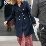 Kate Garraway in a Black Coat Arrives at the Global Radio Studios for Her Smooth Radio Show in London