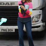 Kate Garraway in a Striped Colorful Sweater Arrives at the Global Radio Studios in London