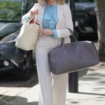 Kate Garraway in a White Suit Arrives at the Smooth Radio in London