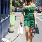 Kelly Bensimon in a Green Dress Walks Her Dog in New York