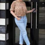 Kelly Brook in a Floral Blouse Arrives at the Heart Radio Studios in London