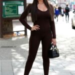 Kelsey Stratford in a Brown Catsuit Attends The Only Way is Essex TV Show Filming in Essex
