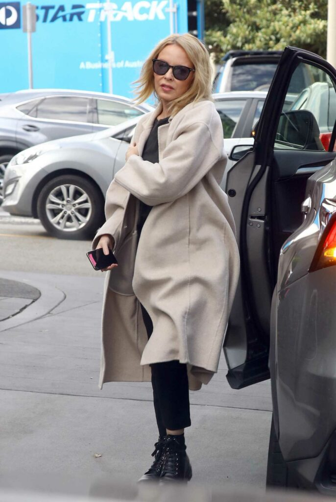 Kylie Minogue in a Beige Coat