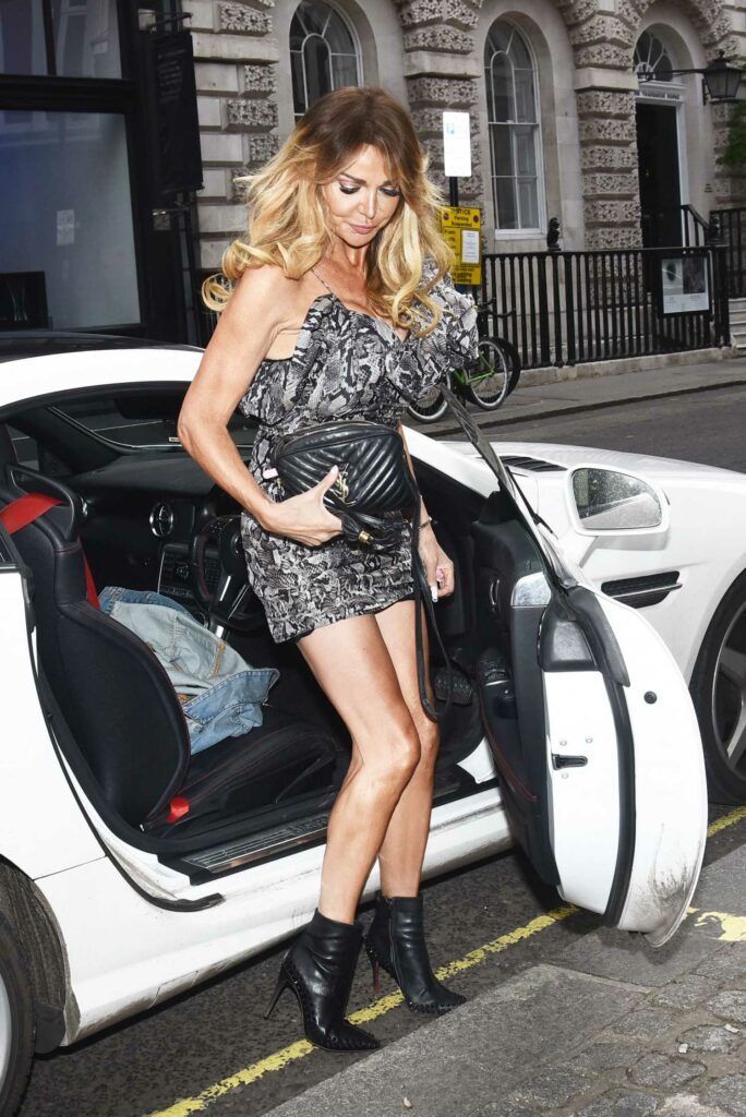 Lizzie Cundy in a Grey Mini Dress