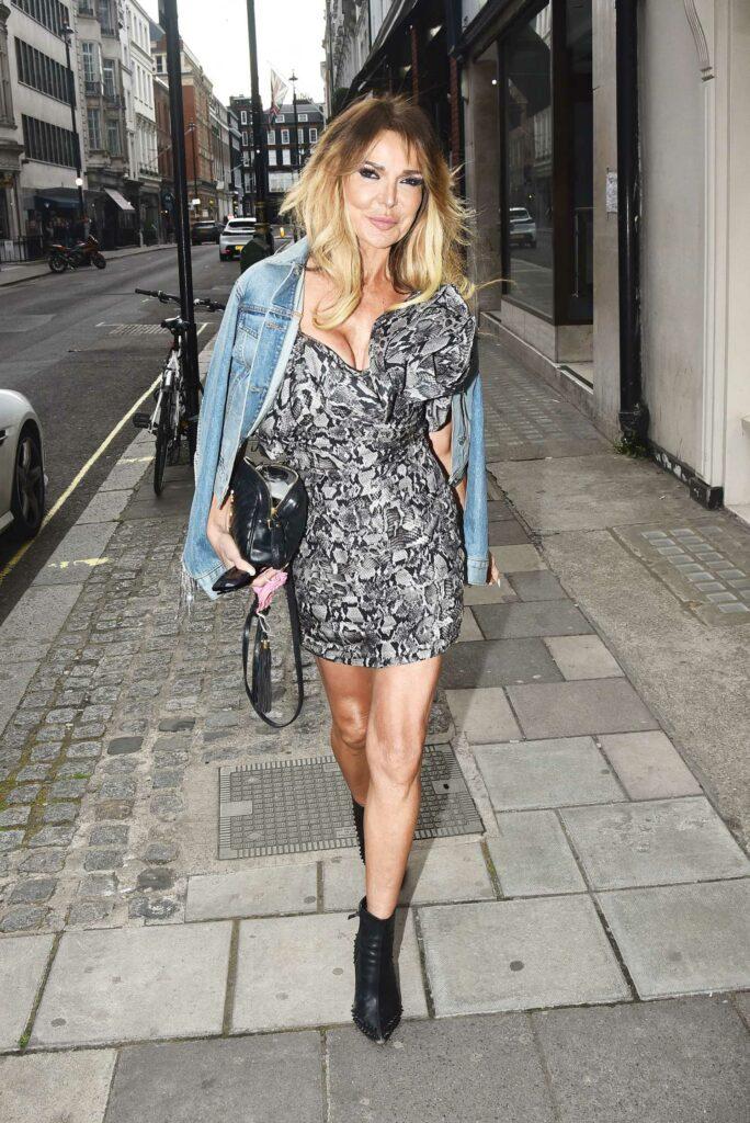 Lizzie Cundy in a Grey Mini Dress