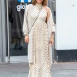 Myleene Klass in a White Polka Dot Dress Arrives at the Global Studios in London