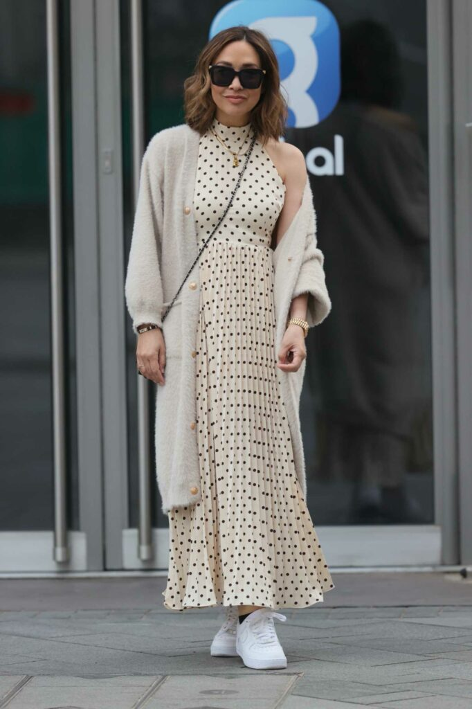 Myleene Klass in a White Polka Dot Dress