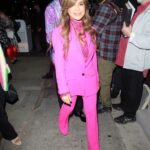 Paula Abdul in a Pink Pantsuit Leaves Dinner at Craig's in West Hollywood