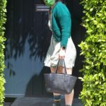 Rumer Willis in a Green Cardigan Exits Reforma Pilates in West Hollywood