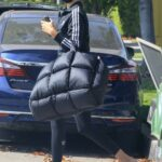 Shanina Shaik in a Black Adidas Track Jacket Arrives to the Gym in West Hollywood